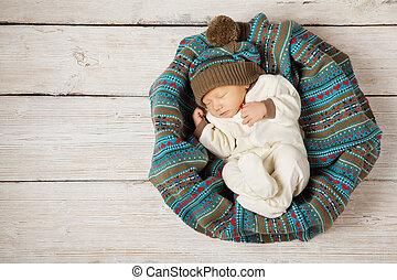 laine, style, hiver bois, pays, dormir, nouveau né, fond, chaud, bébé, chapeau blanc