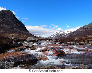 Lairig Ghru seen from river Dee, Scotland in may - Devil...