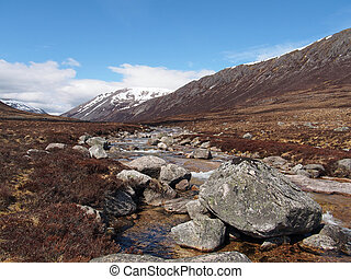 Lairig Ghru seen from river Dee, with Carn a Mhaim to the right, Scotland in spring