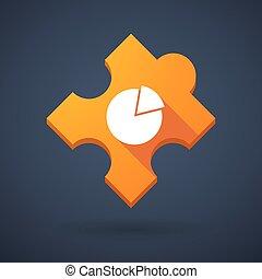laissez perplexe morceau, icône, à, a, graphique circulaire
