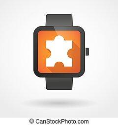 laissez perplexe morceau, montre, intelligent, icône