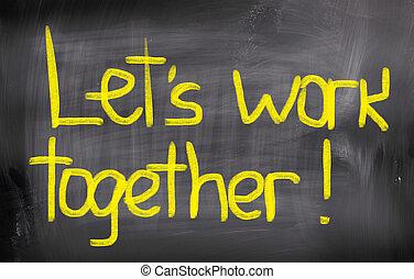 laissons, concept, travail, ensemble