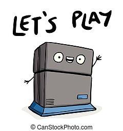 laissons, jeu, image, machine, jeu, vecteur, fond