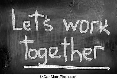 laissons, travail, ensemble, concept