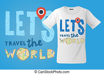 laissons, usage, illustration., sweatshirts, voyage, moderne, souvenirs, t-shirt, aller, vecteur, impression, usages, conception, autre, mondiale