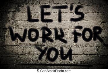 laissons, vous, concept, travail
