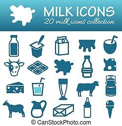lait, icônes