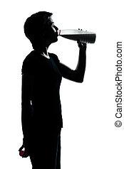 lait, silhouette, girl, adolescent, boire, garçon, une, ou, jeune
