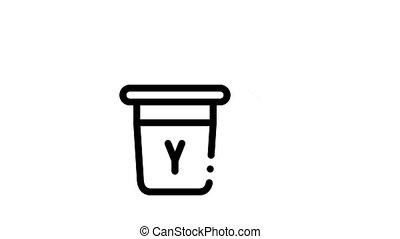 laitage, animation, boisson, nourriture, icône