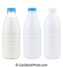 laitage, ensemble, produits, bouteille, plastique