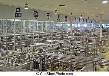 laitage, moderne, production, automatisé, ligne, usine