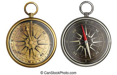 laiton antique, collection, compas