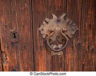 laiton, antiquité, bois, marteau, portes