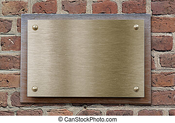 laiton, ou, bronze, cliché métal, sur, mur brique