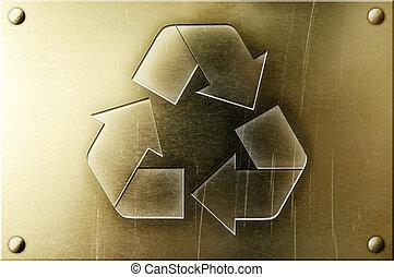 laiton, recyclage, brillant, fond, signe