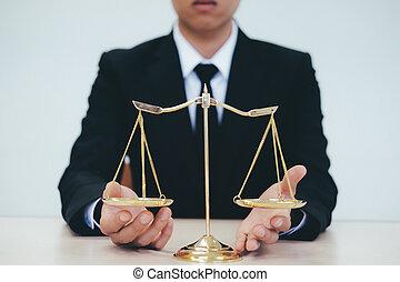 laiton, scale., mâle, avocat, bureau