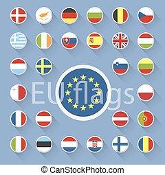 lakás, állhatatos, egyesítés, vektor, tervezés, flags., európai
