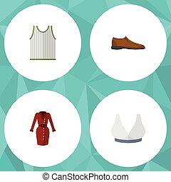 lakás, állhatatos, elements., harckocsi, hím, beleértve, is, vektor, footware, ruha, ikon, objects., sport, sporting, más, öltözék