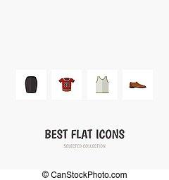 lakás, állhatatos, elements., ing, öltözék, hím, beleértve, is, vektor, footware, elegáns, felszerelés, blúz, objects., ember, sporting, más, ikon