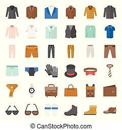 lakás, állhatatos, ikon, segédszervek, vektor, tervezés, 3, hím, öltözék