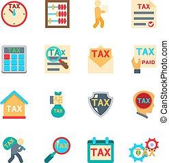 lakás, állhatatos, ikonok, adót kiszab, vektor, style.