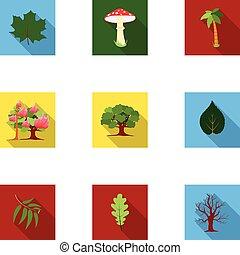 lakás, állhatatos, ikonok, nagy, jelkép, ábra, vektor, gyűjtés, részvény, style., erdő