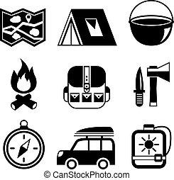 lakás, állhatatos, kempingezés, pictograms, szabadban, idegenforgalom