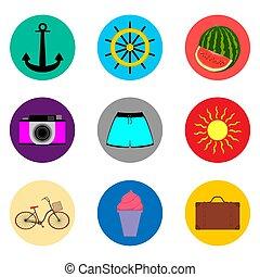 lakás, állhatatos, színezett, ábra, gombok, vektor, jelkép, jel, ikon