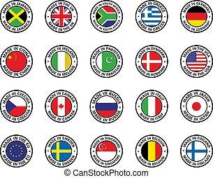 lakás, állhatatos, zászlók, ikon