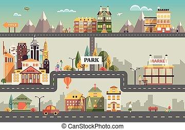 lakás, épületek, állhatatos, ügy, tervezés, kicsi