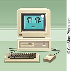 lakás, öreg, character., ábra, vektor, mosolygós, számítógép, karikatúra, boldog