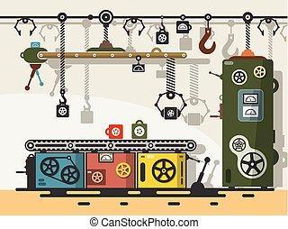 lakás, öreg, elvont, production., vektor, tervezés, gépezet...