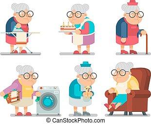 lakás, öreg, háztartás, betű, ábra, vektor, tervezés, nagymama, hölgy, karikatúra