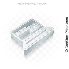 lakás, 10, törő, eps, icon:, fémből való, vector., 3, hír, laptop, áttetsző, árnyék