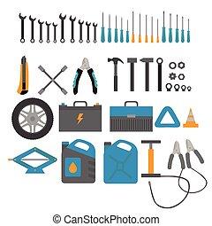 lakás, alapismeretek, machines., szolgáltatás, rendbehozás, autó, diagnostic., felszerelés, tervezés, szerelő, autó, eszközök, set.