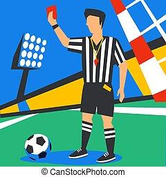 lakás, bíró, penalty., card., cup., szín, kiállítás, labdarúgás, ábra, játékos, játékvezető, tele, ellen, háttér, russia., világ, futball, style., piros, stadium.