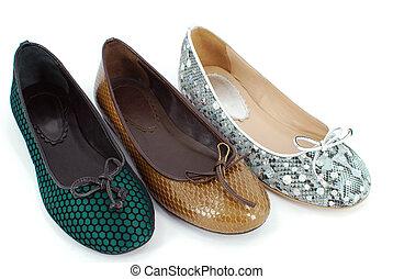 lakás, balett, hölgy, cipők