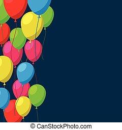 lakás, balloons., ünnepel, háttér