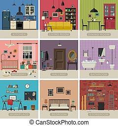 lakás, belső, lakás
