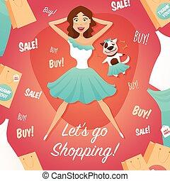 lakás, bevásárlás, poszter, kiárusítás, hirdetés, leány