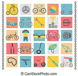 lakás, bicikli, set., bicikli, vektor, tervezés, ábra, types., ikon