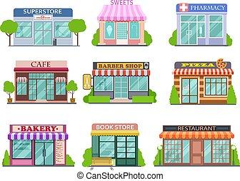lakás, bolt, set., elszigetelt, gyűjtés, karikatúra, pékség, vektor, borbély, pharmacy., mesék, könyvesbolt, bevásárol, pizza