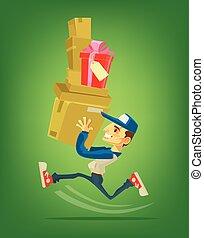 lakás, box., futás, futár, betű, ábra, felszabadítás, vektor, karikatúra, man.