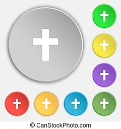 lakás, buttons., keresztény, jelkép, kereszt, vektor, nyolc, vallásos, cégtábla., ikon
