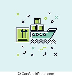 lakás, cargo., ábra, vektor, ikon, hajó