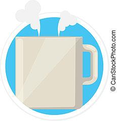 lakás, csésze, tea, vektor, kerek, ikon