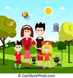 lakás, család, parkosít., animals., mező, vektor, tervezés, kisállat, boldog