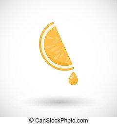 lakás, csepp, lé, vektor, narancs gerezd, ikon