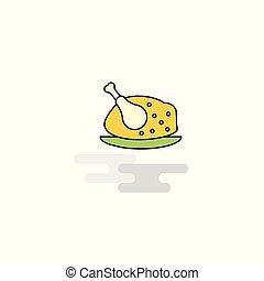 lakás, csirke, vektor, hús, icon.