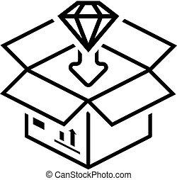 lakás, csomagolás, icon., design.